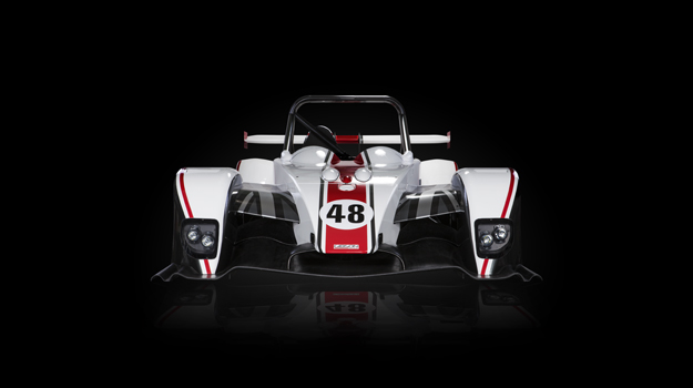 Professional advertising shot of Gibson Motorsport's GH20 car. Front view on a black background. Shot by professional northeast adversting photographer Cal Carey.