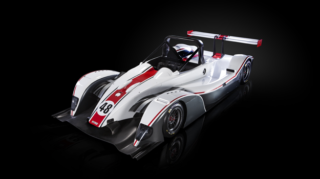 Professional advertising shot of Gibson Motorsport's GH20 car. High angled front view with the car on a, roughly, 45 degree angle. Shot by professional northeast advertising photographer Cal Carey.