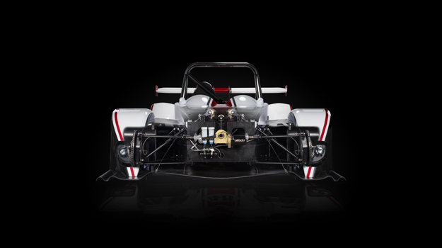 Professional advertising shot of Gibson Motorsport's GH20 car. Front view with the front shell segment removed to show the parts at the front. Shot by professional northeast advertising photographer Cal Carey.