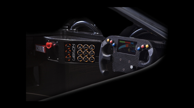 Professional advertising shot for Gibson Motorsport's GH20 car. The shot shows the controls for the driver. Shot by professional northeast advertising photographer Cal Carey.