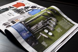 Shot of a double page spread of Forever Sports Magazine featuring editorial photography from Cal Carey Photographer.