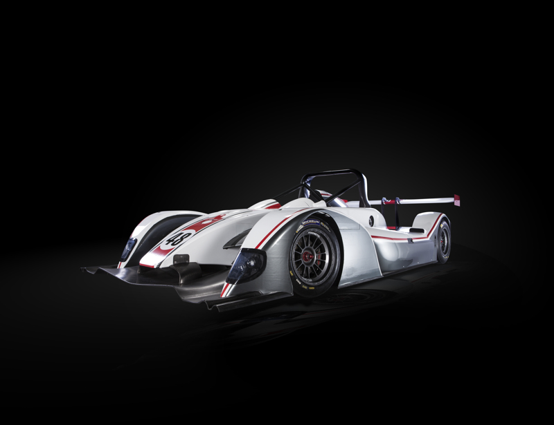 Motorsport's new model racing car in high quality cars they are based in Darlington, this is a studio style photograph.