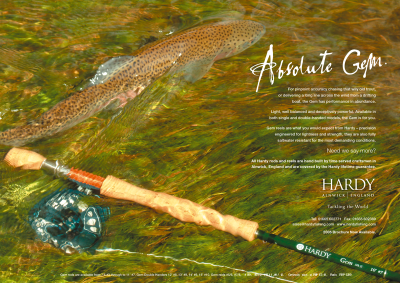 This is a professional advertising shot in an outdoor setting photograph, Hardy of Alnwick who are talking about there rods and reels which are attractive.
