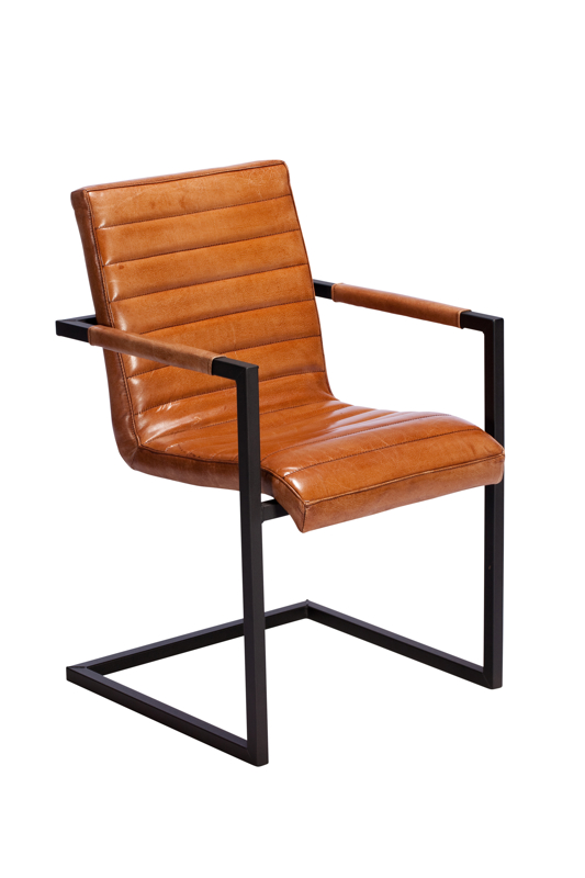 A photograph of a steel and leather living room chair made by Baker furniture, photographed by Cal Carey the professional photographer.