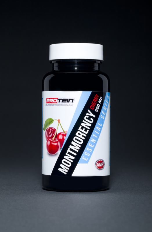 A professional studio product shot of a Protein Superstore vitamin and bodybuilding supplement. Photographed by Cal Carey the professional advertising photographer in his studio in Saltburn by the Sea, Teesside, Northeast UK. Shot on a graduated grey to black background with simple shadowing and vibrant colours.