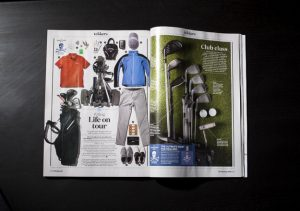 Overhead shot of a double page spread of Forever Sports Magazine featuring editorial photography from Cal Carey Photographer.